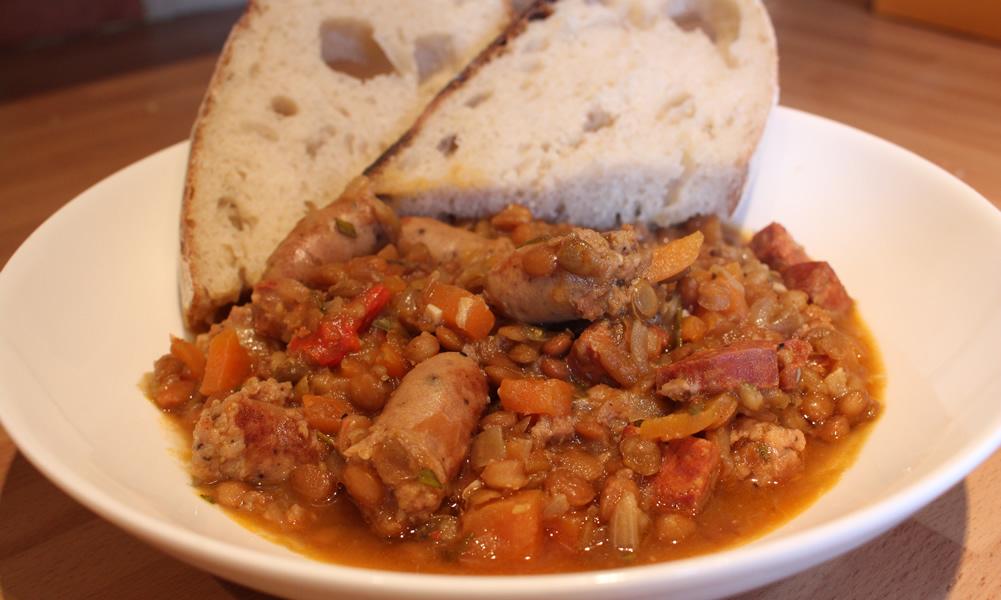 Lentil, Sausage and Chorizo Casserole
