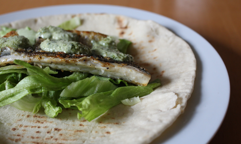 Grey Mullet and Pesto Yoghurt Wraps