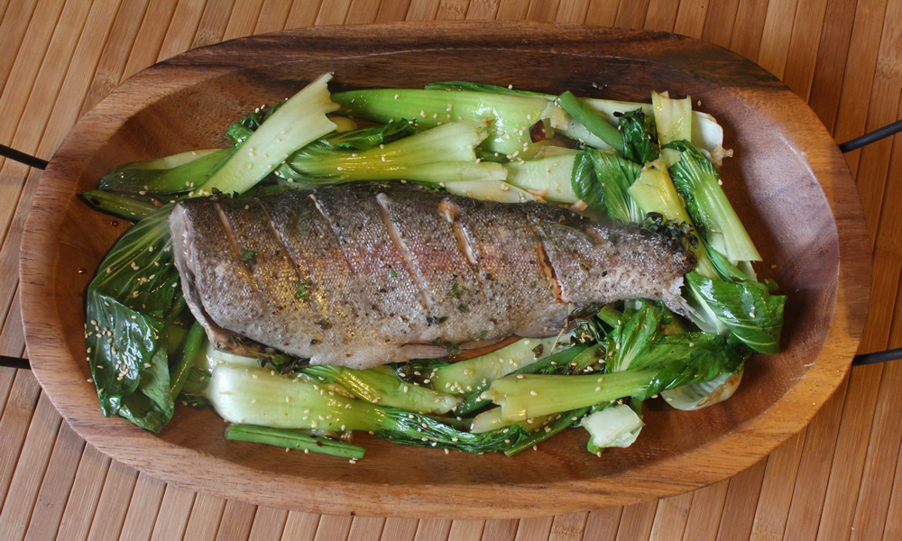 Lemony Trout with Sesame Green Beans and Pak Choi
