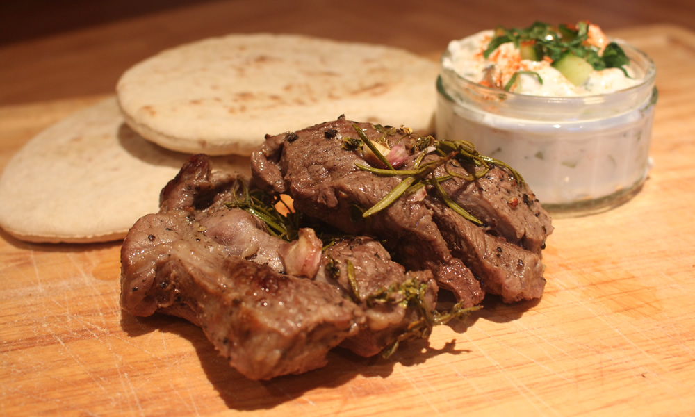 Lamb Steak Pitas with Raita