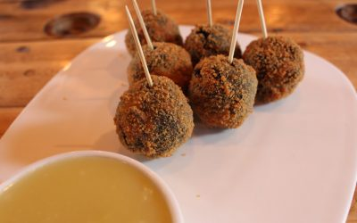 Black Pudding, Bacon Bon Bons with Apple and Cider Sauce