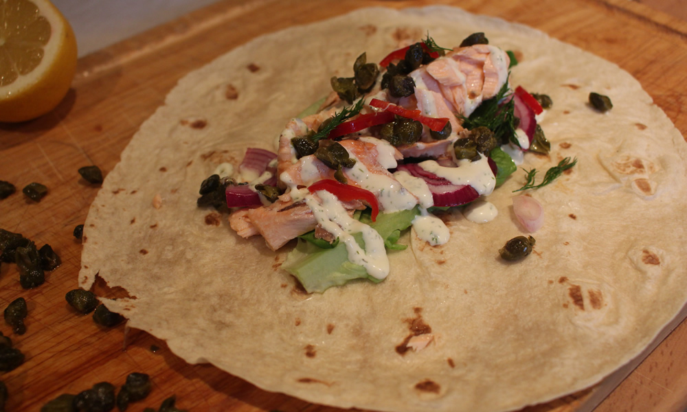 Salmon Wraps with Crispy Capers and Dill Cream