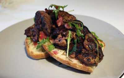 Chicken Livers on Ciabatta with Blackberry Vinaigrette